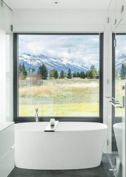 Modern Farmhouse Bathroom with a View and Black Window Trim