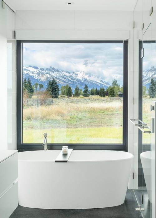 Modern Farmhouse Bathroom with a View and Black Window Trim