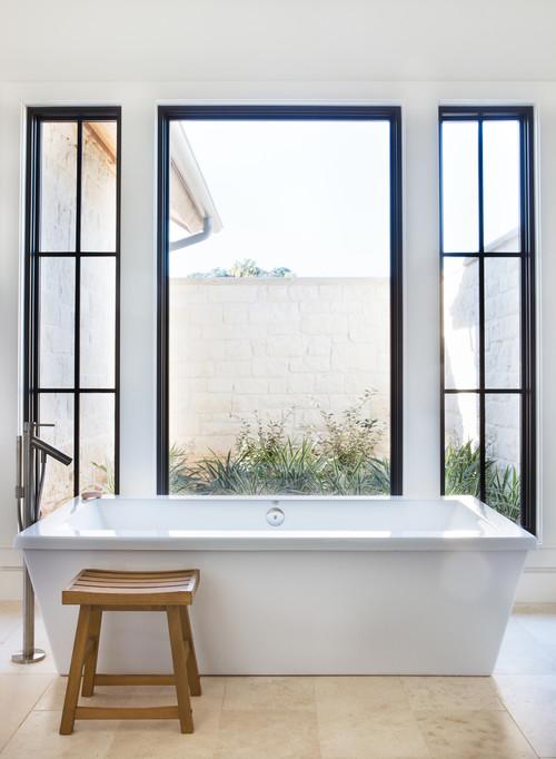 Modern Farmhouse Bathroom with Black Window Trim