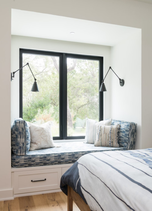 Modern Farmhouse Bedroom Window Seat with Black Window Trim
