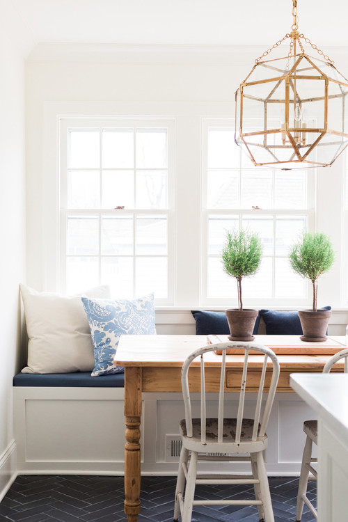 Modern Farmhouse Breakfast Nook Banquette with Windows