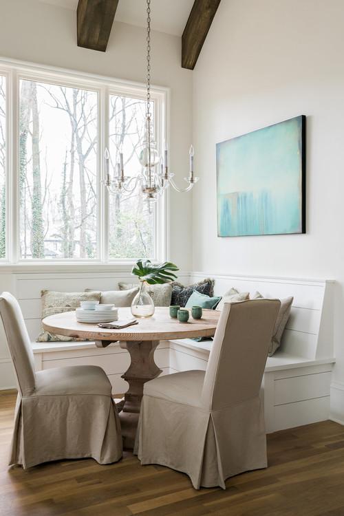 Modern Farmhouse Breakfast Nook Corner Banquette with Window