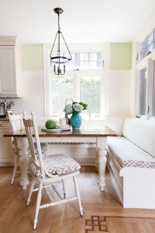 Modern Farmhouse Breakfast Nook Corner Banquette with Windows