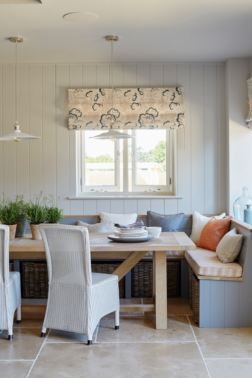 Modern Farmhouse Breakfast Nook Corner Banquette with Windows
