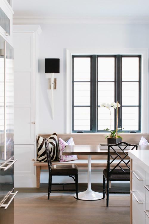 Modern Farmhouse Dining Room with Black Window Trim