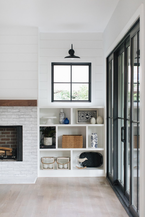 Modern Farmhouse Family Room Detail with Black Window Trim