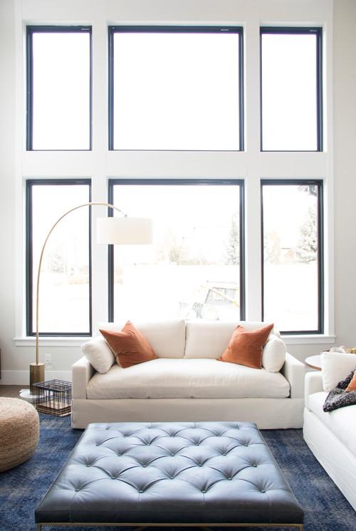 Modern Farmhouse Family Room with Black Window Trim