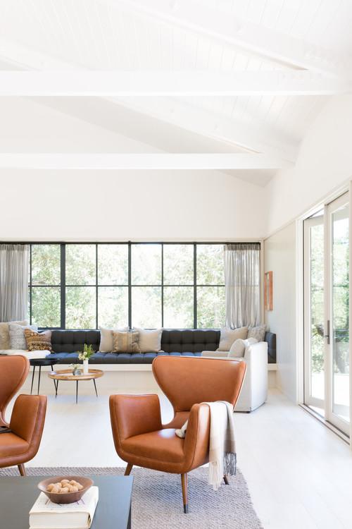 Modern Farmhouse Family Room Large Window with Black Window Trim