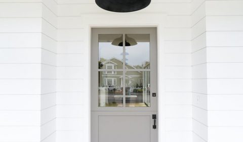 Modern Farmhouse Gray Front Door Exterior