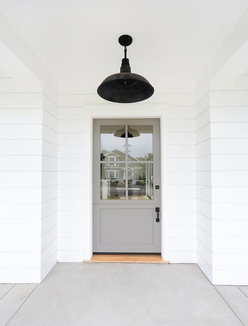 Modern Farmhouse Gray Front Door Exterior
