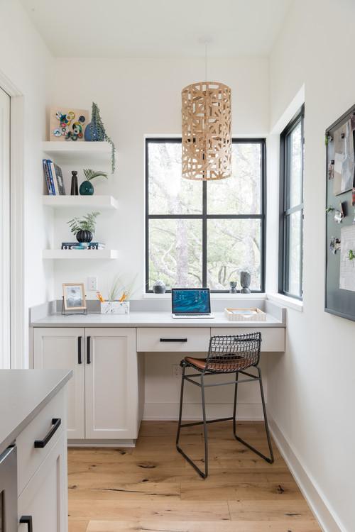 Modern Farmhouse Home Office with Black Window Trim