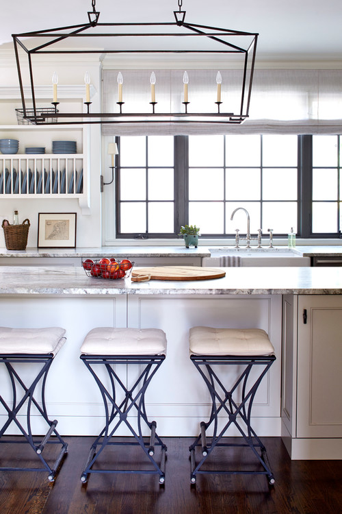 Modern Farmhouse Kitchen with Black Window Trim