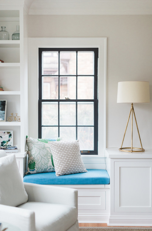 Modern Farmhouse Living Room Window Seat with Black Window Trim