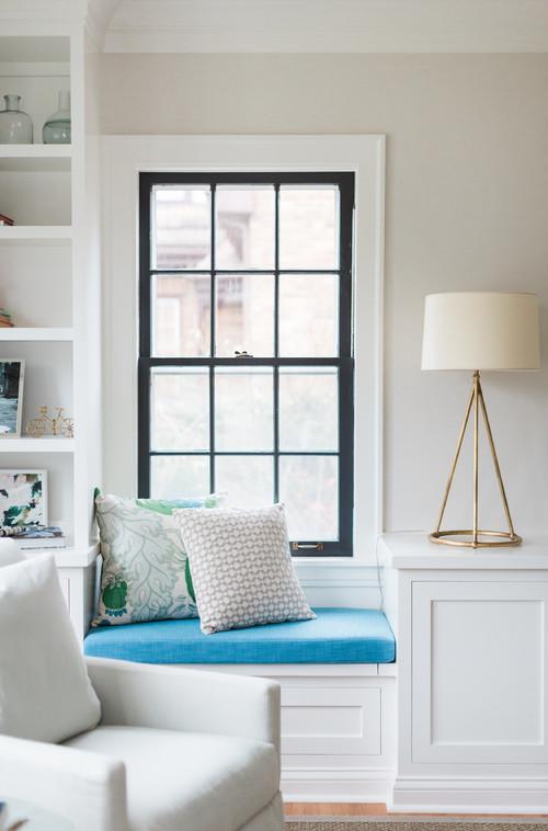 Modern Farmhouse Living Room Window Seat with Black Window Trim