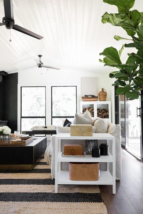 Modern Farmhouse Living Room with Black Window Trim