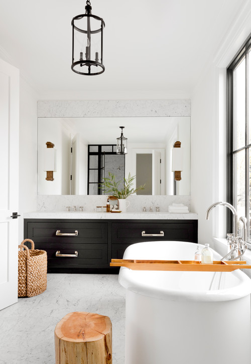 Black and White Modern Farmhouse Bathroom with Black Double Sink Vanity
