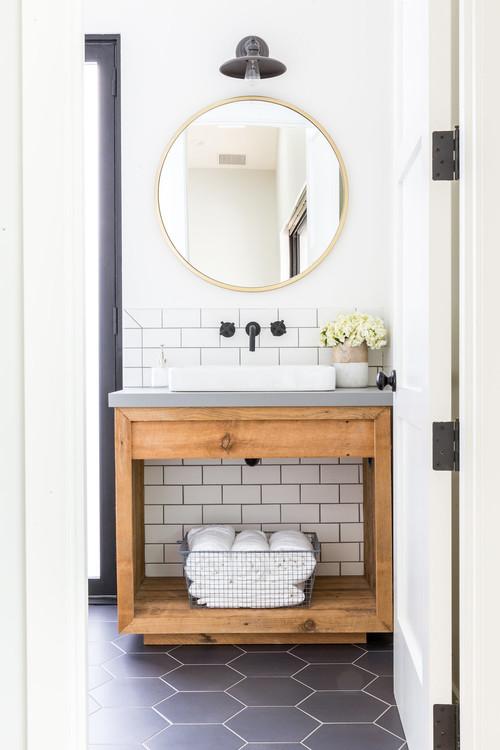 Black and White Modern Farmhouse Bathroom with Black Hardware