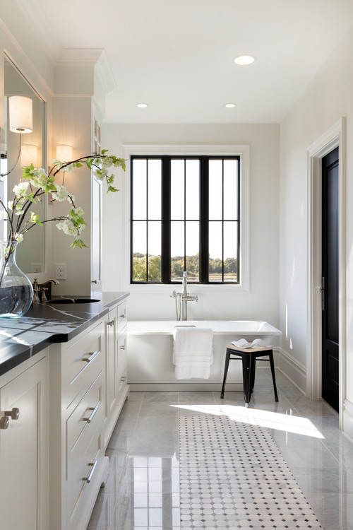Black and White Modern Farmhouse Bathroom with Black Window Trim