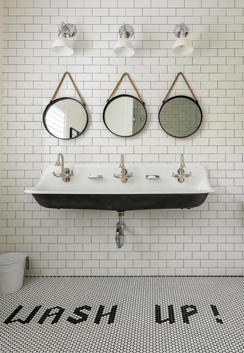 Black and White Modern Farmhouse Bathroom with Black and White Children