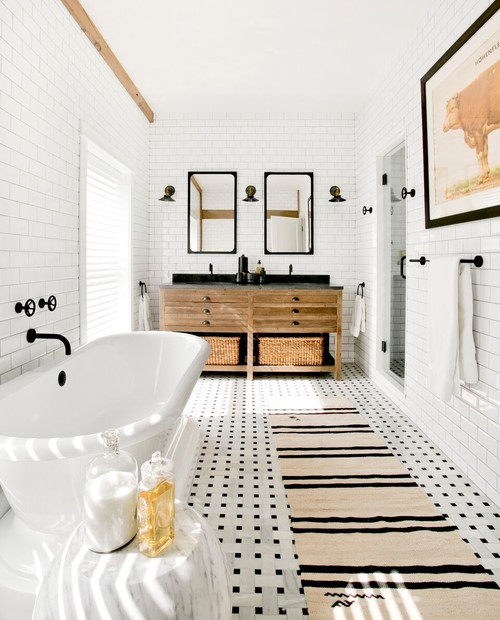 Black and White Modern Farmhouse Bathroom with Black and White Tiled Floor