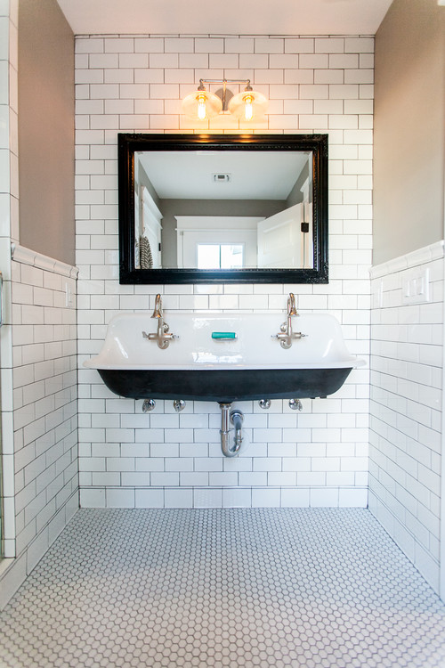 Black and White Modern Farmhouse Bathroom with Large Black and White Vintage Style Trough Sink