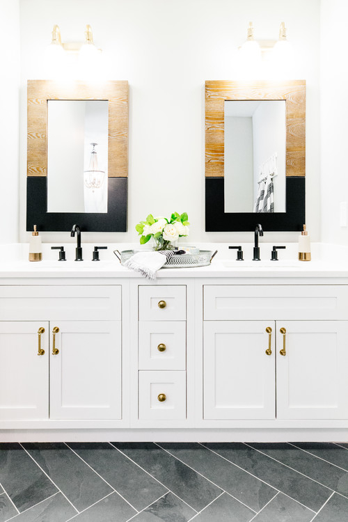 Black and White Modern Farmhouse Bathroom with Wood and Black Two-tone Mirrors