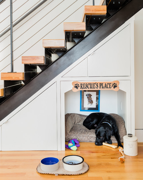 Built-in Dog-Bed Under Stairs