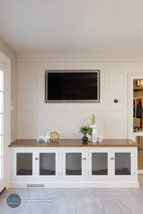 Built-in Dog Crate White Console Table