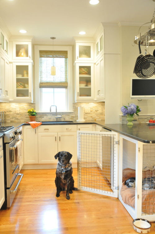 Built-in Dog Crate in Kitchen Island