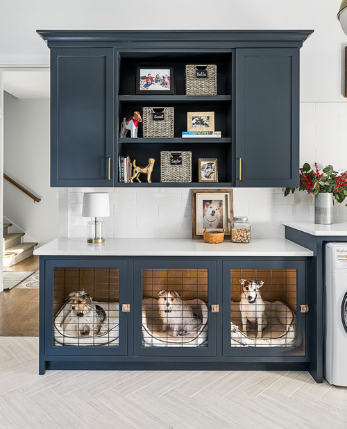 Built-in Dog Crate in Laundry Room Cabinet