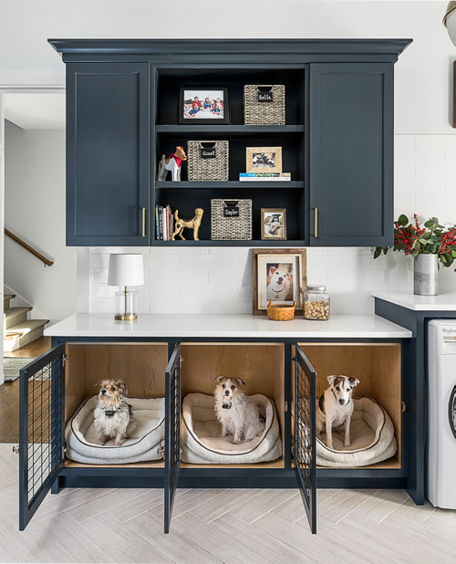 Built-in Dog Crate in Laundry Room