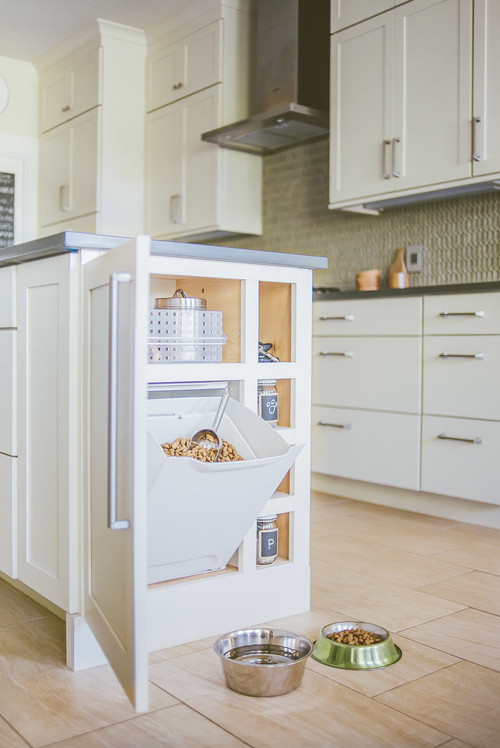 Built-in Dog Feeding Station Kitchen Island Cabinet