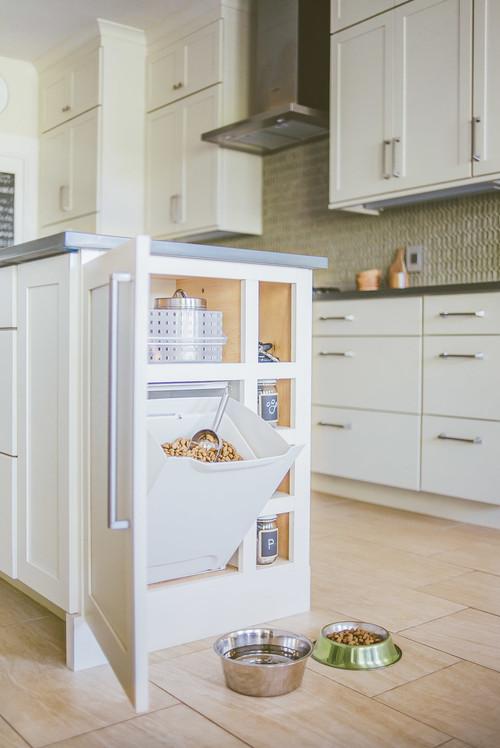 Built-in Dog Feeding Station Kitchen Island Cabinet