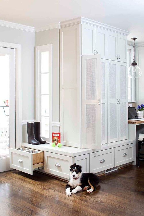 Built-in Dog Feeding Station in Entry Cabinet