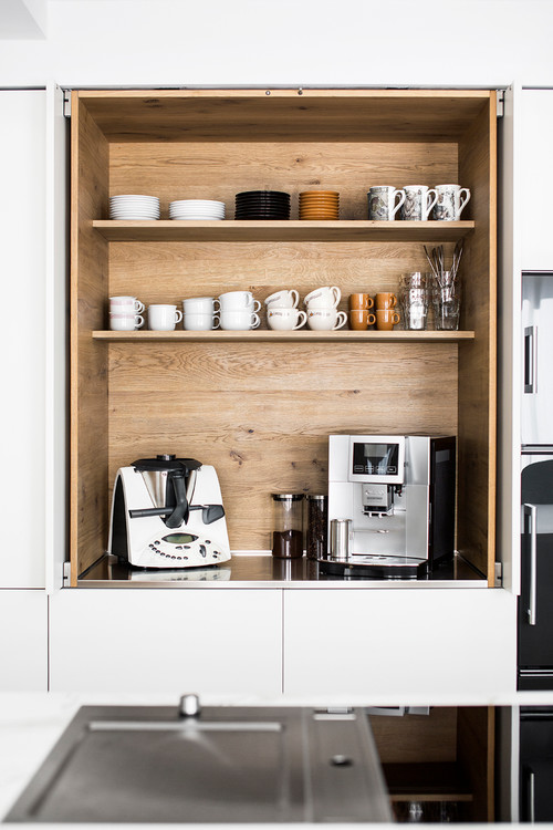 Built-in Kitchen Coffee Bar Cabinet with Slide-in Doors