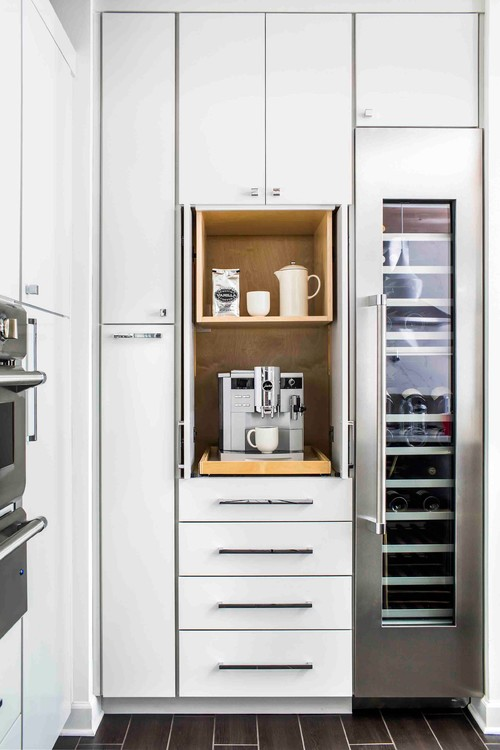Built-in Kitchen Coffee Bar in a Cabinet with Slide-out