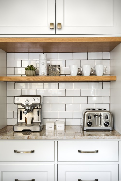Built-in Kitchen Coffee Bar with Shelf