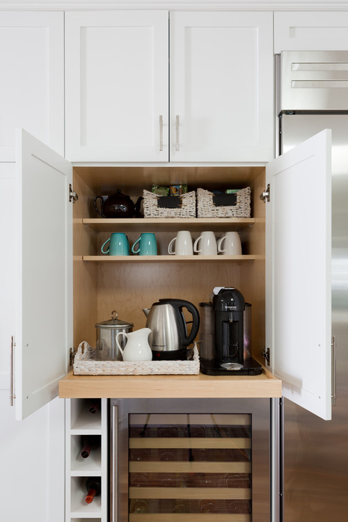 Built-in Kitchen Slide-out Coffee Bar in a Cabinet