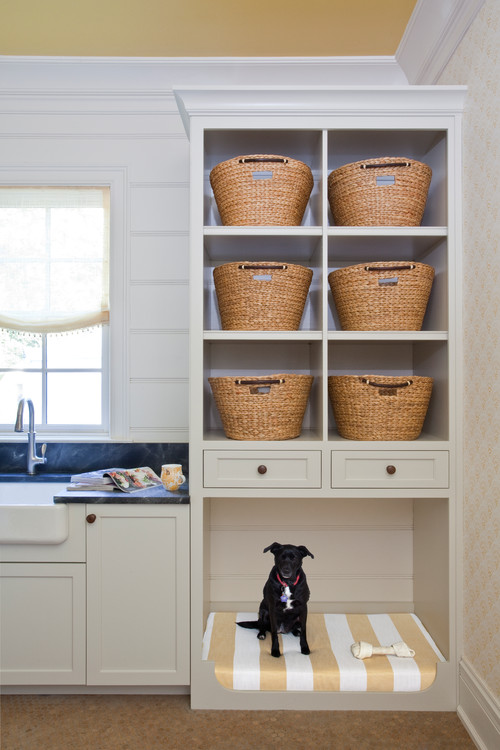 Built-in Laundry Room Cabinet Dog Bed