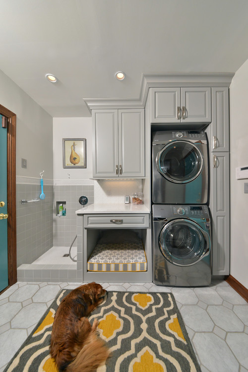 Built-in Laundry Room Dog Bed