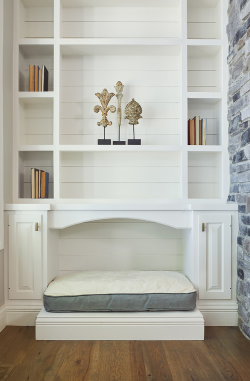 Built-in Shiplap Shelving Unit Dog Bed