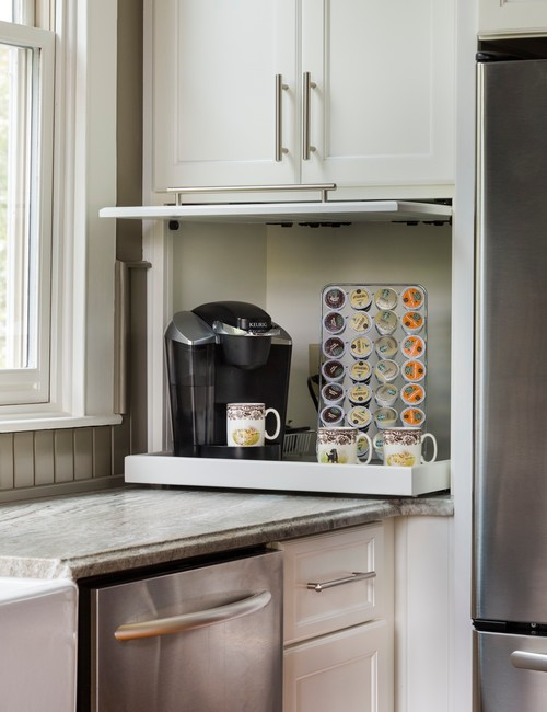 Built-in Slide-out Coffee Garage in a Kitchen Cabinet