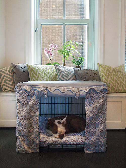 Dog Crate with Decorative Fabric Cover