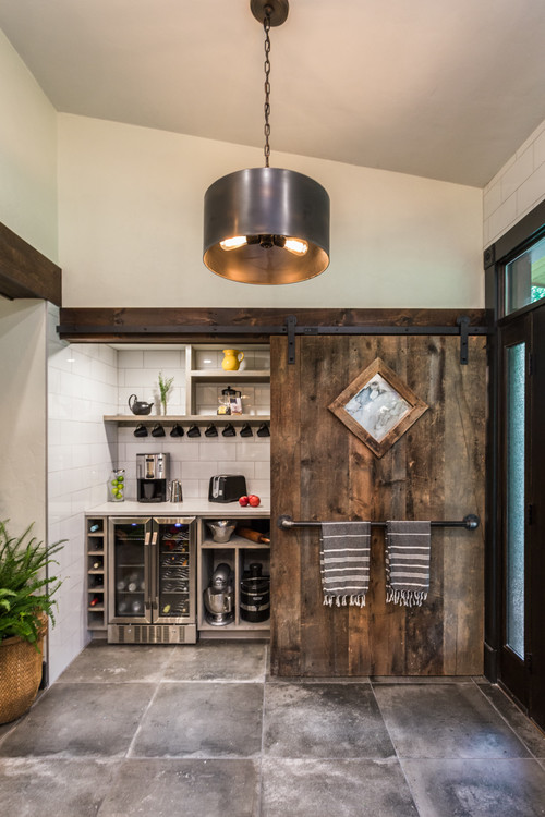 Farmhouse Style Built-in Coffee Bar in a Pantry with Sliding Barn Door