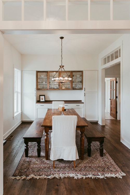 Modern Farmhouse Dining Room with Farmhouse Table and Benches