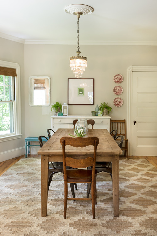 Modern Farmhouse Dining Room with Farmhouse Table and Metal Chairs