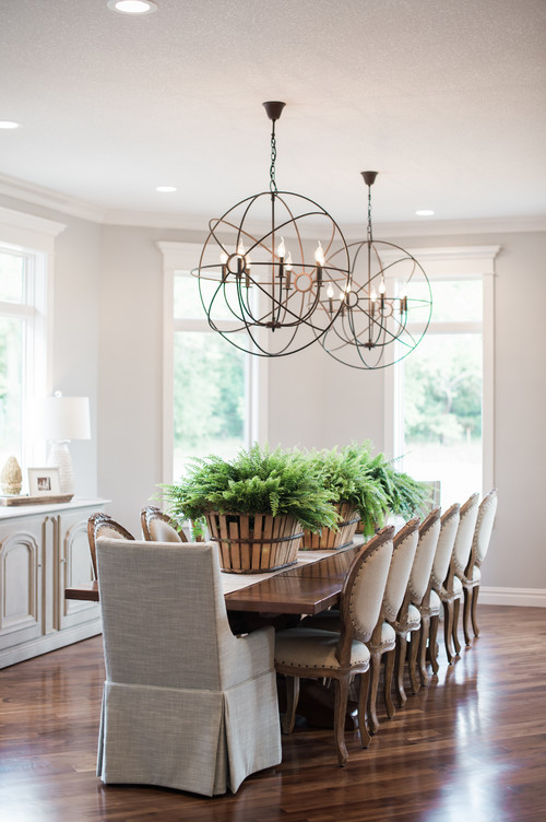 Modern Farmhouse Dining Room with Farmhouse Table and Oval Back Dining Chairs