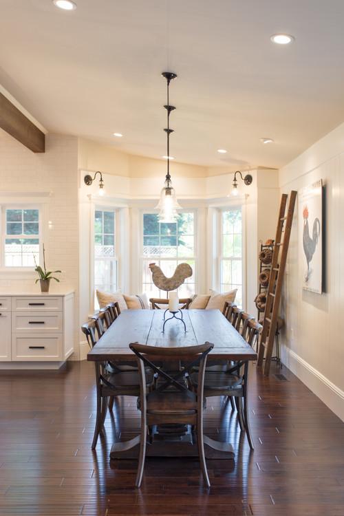 Modern Farmhouse Dining Room with Farmhouse Trestle Table