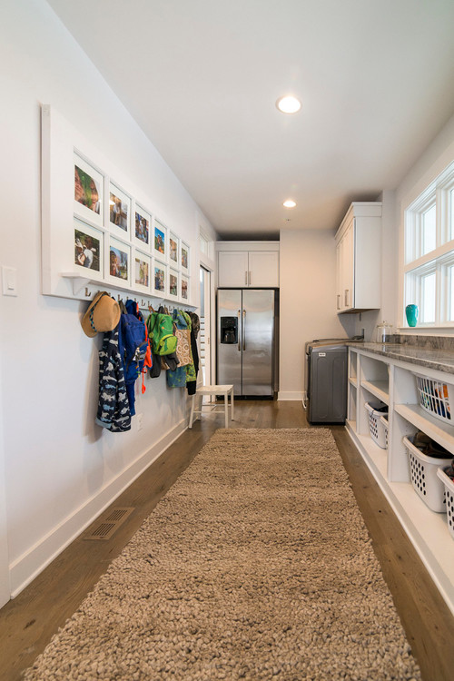 Modern Farmhouse Galley Style Laundry Room and Mudroom - Modern Farmhouse Laundry Room Ideas