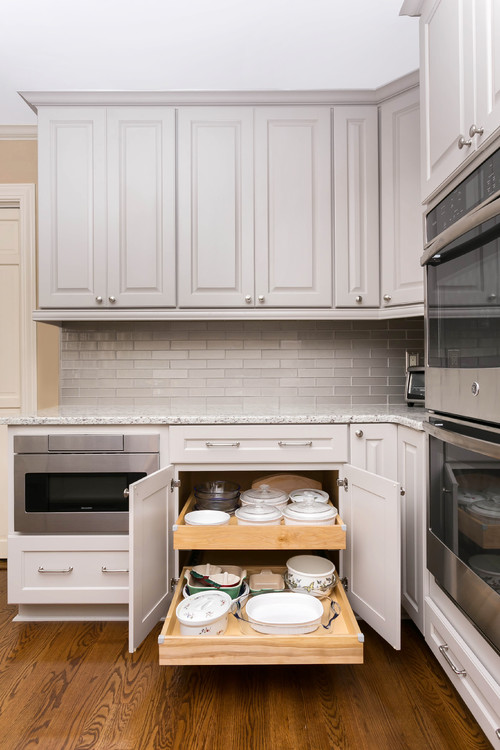 Modern Farmhouse Kitchen Organization: Cabinet Slide-out for Dishes